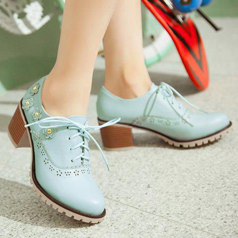 Sale Fashionable Flower and Lace-Up Design Pumps For Women - 38 BLUE Mobile