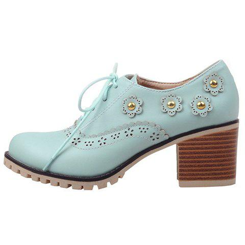 Outfits Fashionable Flower and Lace-Up Design Pumps For Women - 38 BLUE Mobile