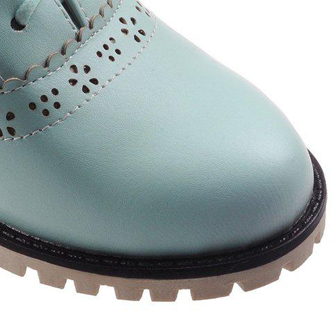 Best Fashionable Flower and Lace-Up Design Pumps For Women - 38 BLUE Mobile