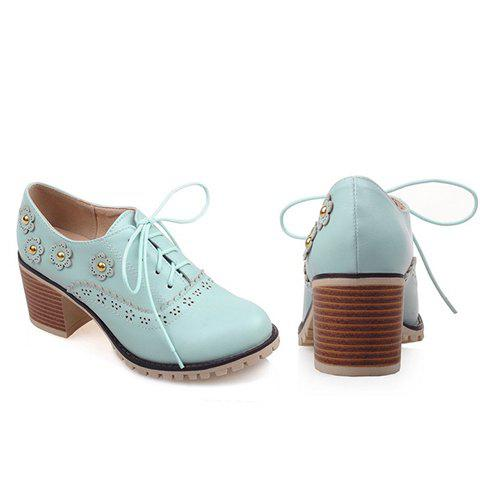 Chic Fashionable Flower and Lace-Up Design Pumps For Women - 38 BLUE Mobile