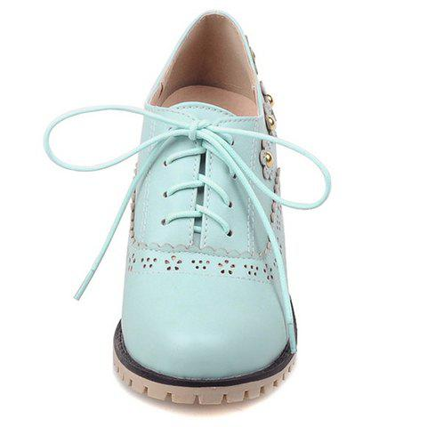 Discount Fashionable Flower and Lace-Up Design Pumps For Women - 38 BLUE Mobile