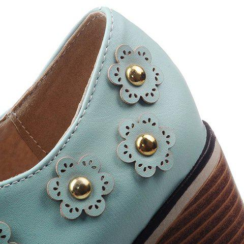 Shops Fashionable Flower and Lace-Up Design Pumps For Women - 38 BLUE Mobile