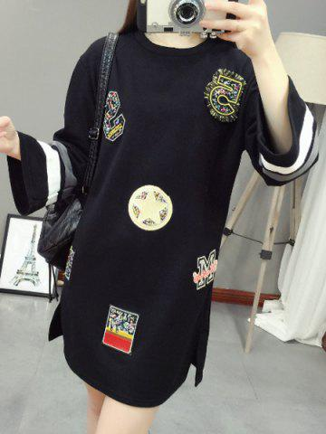 Buy Casual Style Round Neck Long Sleeve Beading Letter Loose-Fitting Dress For Women