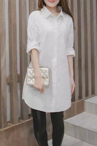 Fancy Brief Style Shirt Collar Long Sleeve White Plus Size Shirt For Women