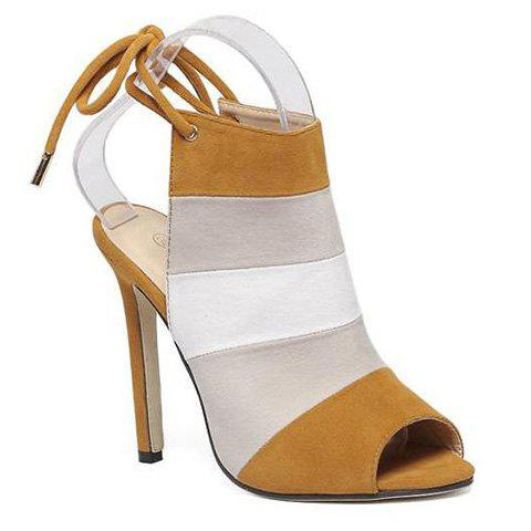 Buy Lace Back Color Block Peep Toe Sandals