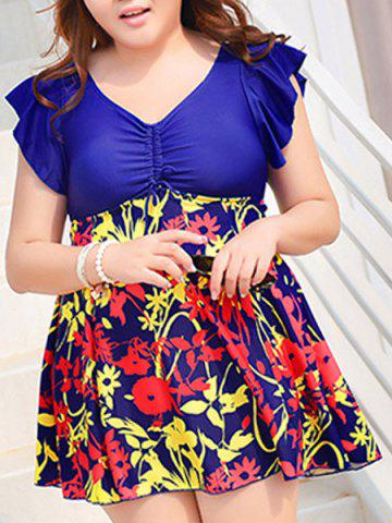 Latest Cute V-Neck Floral Print Short Sleeve Swimsuit For Women