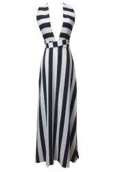 Plunging Neck Sleeveless Striped Maxi Evening Dress