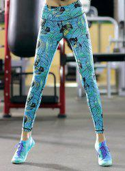 High Waisted Stretchy Printed Workout Ankle Pants - WATER BLUE