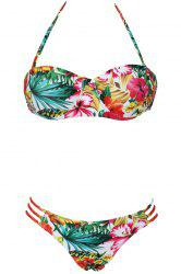 Stylish Halter Flower Print Women's Bikini Set
