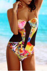 Stylish Halter Floral Spliced One-Piece Women's Swimwear