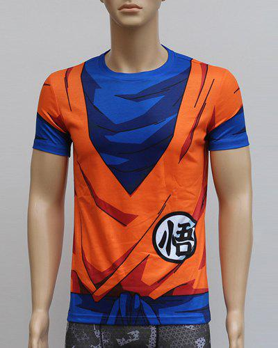 Fancy Color Block 3D Dragonball Print Round Neck Short Sleeves Sweat Dry Tight T-Shirt For Men
