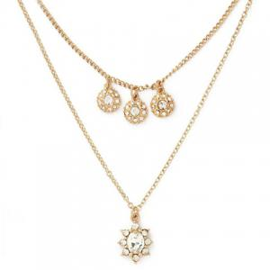 Round Layered Rhinestoned Necklace -