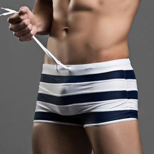 Sexy Color Block Lace-Up Design Striped Boxer Swimming Trunks For Men -