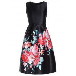 Retro Style Round Collar Flower Print Sleeveless Dress For Women