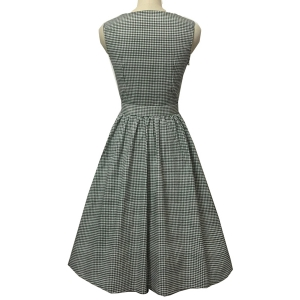 Retro Style Slash Neck Sleeveless Gingham Belted Dress For Women -