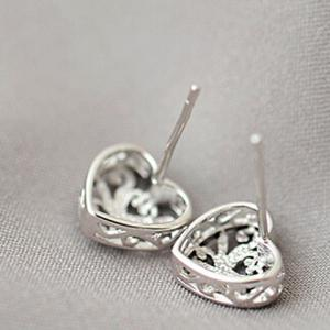 Pair of Bird Nest Heart Shape Hollow Out Earrings -