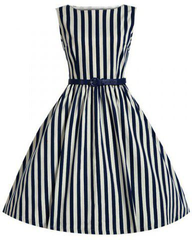 Chic Retro Style Boat Neck Sleeveless Striped Ball Gown Dress For Women