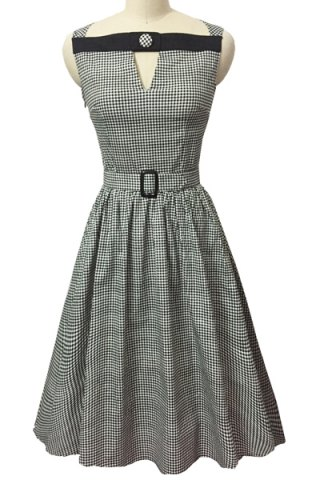Best Retro Style Slash Neck Sleeveless Gingham Belted Dress For Women