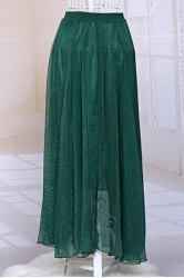 Gauzy Flowy Long Skirt - GRASS GREEN