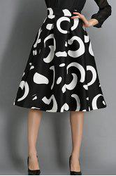 Stylish High-Waist A-Line Geometric Print Women's Skirt