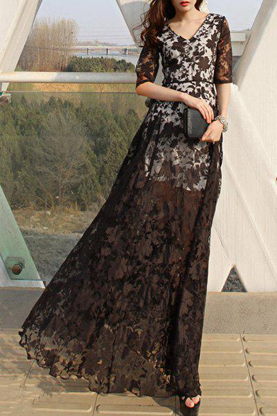 Discount Gorgeous V-Neck 1/2 Sleeve See-Through Floral Maxi Dress For Women