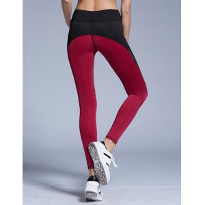 Stylish Elastic Waist Color Block Voile Spliced Yoga Pants For Women - RED S