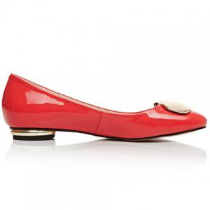 Fresh Style Patent Leather and Metal Design Flat Shoes For Women -