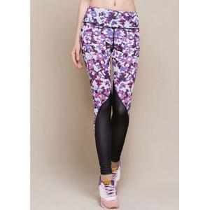 Stylish Elastic Waist Printed Skinny Yoga Pants For Women - Purple - M