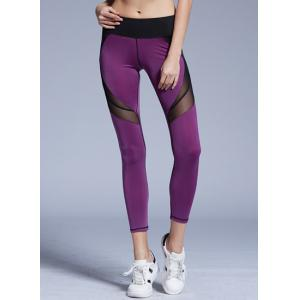 Stylish Elastic Waist Color Block Voile Spliced Yoga Pants For Women - Purple - S