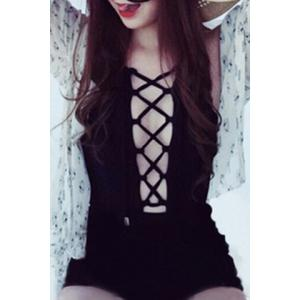 Women's Sexy Lace-Up Hollow Out Pure Color One Piece Swimwear