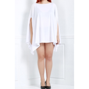 Asymmetric Loose Tunic Casual Dress - White - M