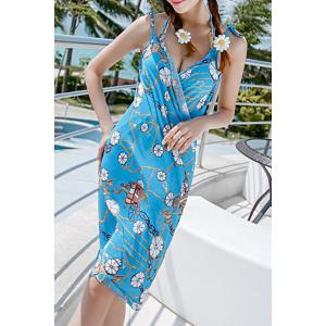 Sexy Halter Ruched Printed Three-Piece Swimsuit For Women -