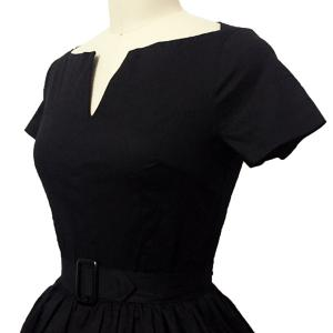 Retro Style V Neck Short Sleeve Solid Color Belted Ball Gown Dress For Women - BLACK XL