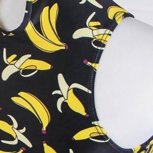 Stylish Turtleneck Banana Printed Three-Piece Swimsuit For Women -