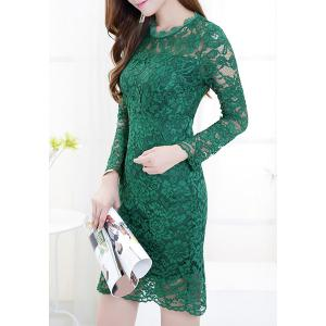 Ladylike Round Collar Candy Color Long Sleeve Lace Dress For Women -