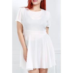 Short Sleeve High Waist Ruffled Plus Size Dress