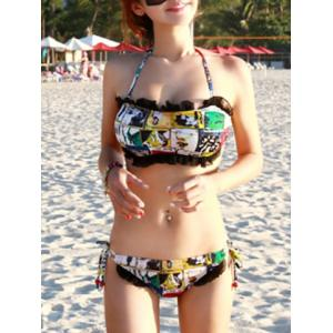 Ruffled Halter Printed Cute Bathing Suit -