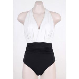 Stylish V-Neck Color Block Backless One-Piece Swimsuit For Women -