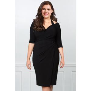 Sexy Halter Half Sleeve Hollow Out Solid Color Wrapped Midi Dress For Women - BLACK L