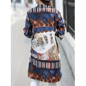 Vintage Style Shirt Collar Long Sleeve Loose-Fitting Abstract Print Shirt For Women -