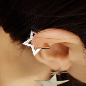 Pair of Alloy Hollow Out Star Shape Clip Earrings -