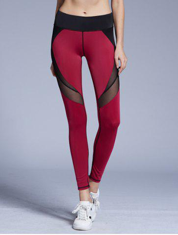 Fancy Stylish Elastic Waist Color Block Voile Spliced Yoga Pants For Women RED L