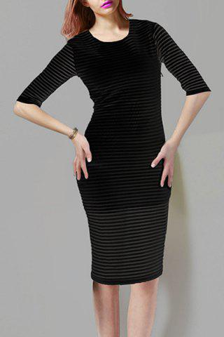 Latest Women's Stylish Scoop Neck 1/2 Sleeve Pure Color Pencil Dress