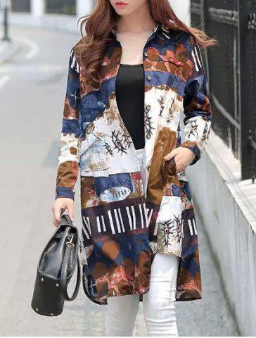 Trendy Vintage Style Shirt Collar Long Sleeve Loose-Fitting Abstract Print Shirt For Women