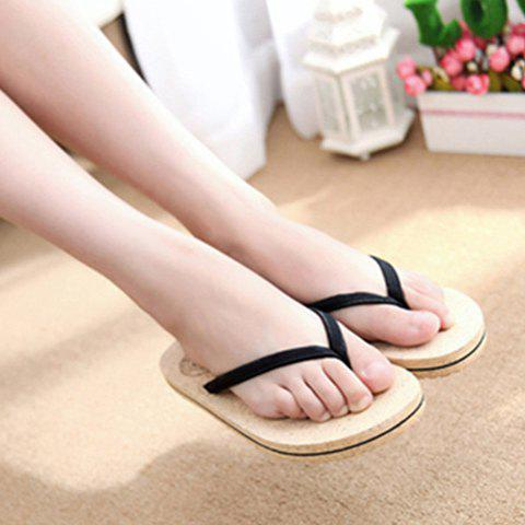 Buy Leisure Solid Color and Flip Flop Design Slippers For Women - 37 BLACK Mobile