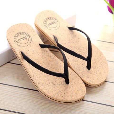 Unique Leisure Solid Color and Flip Flop Design Slippers For Women - 37 BLACK Mobile