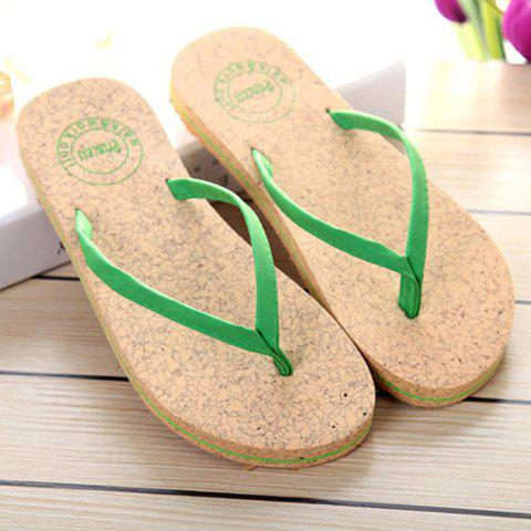 Best Leisure Solid Color and Flip Flop Design Slippers For Women - 38 GREEN Mobile