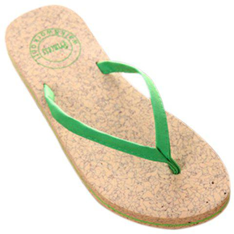 Hot Leisure Solid Color and Flip Flop Design Slippers For Women - 38 GREEN Mobile