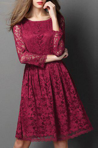 Hot Ladylike Round Neck Long Sleeve Hollow Out Solid Color Lace Dress For Women