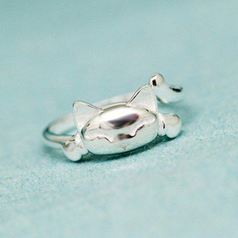 Hot Alloy Kitten Shape Cuff Ring SILVER ONE-SIZE